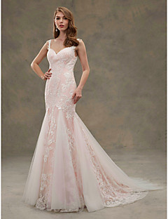 LAN TING BRIDE Trumpet / Mermaid Wedding Dress - Chic & Modern Wedding Dress in Color Court Train Straps Lace Tulle with Appliques
