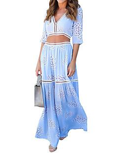 Balançoire Robe Femme Plage Vacances simple,Imprimé Col en V Maxi Manches Courtes Polyester Eté Taille Normale Non Elastique Moyen
