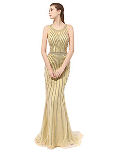 Formal Evening Dress - Sparkle & Shine A-line Scoop Floor-length Tulle with Beading