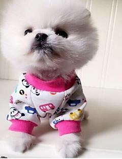 Коты Собаки Пижамы Одежда для собак Милые На каждый день Животный принт Оранжевый Пурпурный Красный Синий Розовый