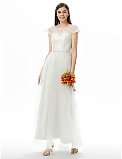 2017 LAN TING BRIDE Ankle-length Jewel Bridesmaid Dress - Open Back Short Sleeve Lace Tulle