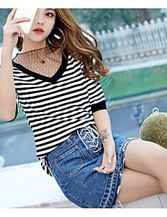 Feminino Camiseta Casual SensualListrado Fibra Sintética Decote Redondo Meia Manga