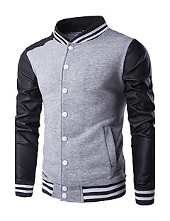 Men's Casual/Daily Street chic Spring Fall Jacket,Floral Stand Long Sleeve Regular Polyester
