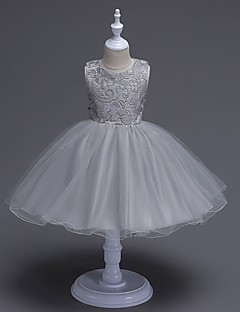 A-Line Knee Length Flower Girl Dress - Organza Sleeveless Jewel Neck with Bow(s) Lace