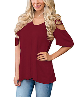 Women's Going out Casual/Daily Holiday Sexy Simple Street chic Cut Out All Match Off-the-shoulder T-shirtSolid Round Neck Short Sleeve  Medium