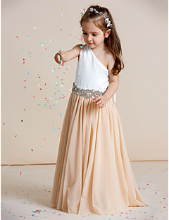 A-line Floor-length Flower Girl Dress - Chiffon Satin One Shoulder with Crystal Detailing Draping