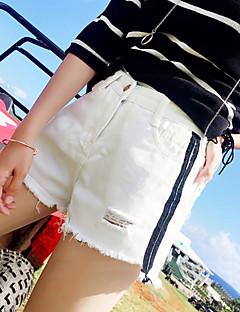 レディース ストリートファッション ハイライズ ワイドレッグ マイクロ弾性 ジーンズ ショーツ パンツ 引き裂かれました タッセル ストライプ