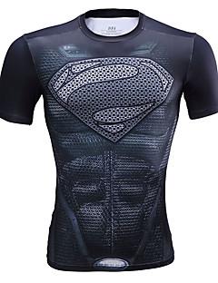 Unisexo Manga Curta Corrida Camiseta Blusas Respirável Confortável Verão Moda Esportiva Corrida LYCRA® Delgado