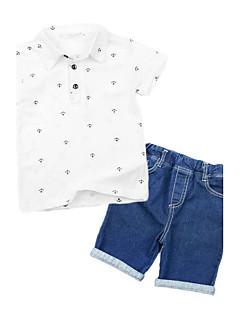 Jungen Sets Druck Kunstseide Sommer Kurzarm Kleidungs Set