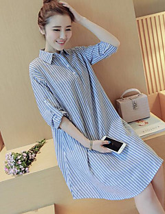 Women's Going out Casual/Daily Simple Active Shirt Dress,Striped Shirt Collar Knee-length Above Knee Long Sleeve Linen Spring Mid Rise