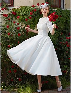 LAN TING BRIDE A-라인 웨딩 드레스 - 피로연 드레스 어깨 노출 스타일 종아리 길이 보트넥 레이스 와 아플리케 드레이프트