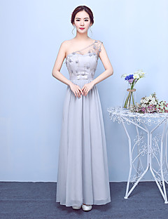 Ankle-length Chiffon Satin Elegant Bridesmaid Dress - A-line One Shoulder with Bow(s) Embroidery