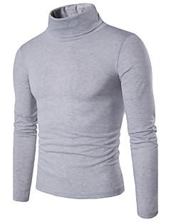 Normal Pullover Fritid/hverdag Enkel Herre,Ensfarget Rullekrage Langermet Bomull Vår Medium Mikroelastisk