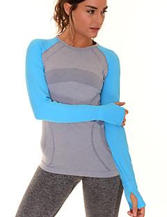 Mulheres slim t-shirt longo confortável da luva esportes rápidos da aptidão seca tops