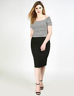 Damen Sexy Einfach Niedlich Hohe Hüfthöhe Midi Röcke Stifte,Gestrickt einfarbig
