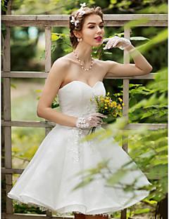 Prinsesse Kjære Knelang Blonder Bryllupskjole med Krystall Perlearbeid Appliqué Blomst av HUA XI REN JIAO