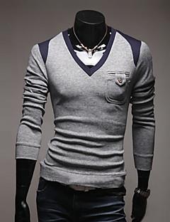 בינוני (מדיום) אביב ניילון שרוול ארוך צווארון V דפוס יום יומי\קז'ואל סוודר רגיל גברים מיקרו-אלסטי