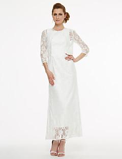 Lanting Bride® A-Linie Brautmutterkleid - Zweiteilig Tee-Länge Ohne Ärmel Spitze  -  Spitze Plissee