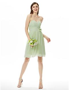 LAN TING BRIDE באורך  הברך סטרפלס מחשוף לב שמלה לשושבינה  ללא שרוולים שיפון
