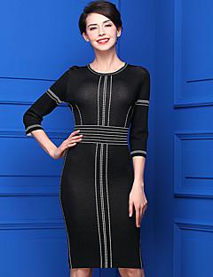 Damen Standard Pullover-Lässig/Alltäglich Einfach Solide Rundhalsausschnitt ½ Länge Ärmel Acryl Frühling Mittel Mikro-elastisch