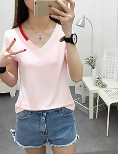 Women's Casual/Daily Simple Spring Summer T-shirt,Solid V Neck Short Sleeve Cotton Opaque