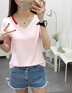 여성 솔리드 V 넥 짧은 소매 티셔츠,심플 캐쥬얼/데일리 면 봄 여름 불투명