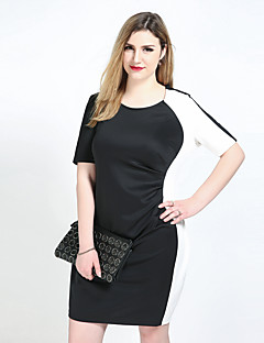 Really Love Women's Plus Size Casual/Daily Party Sexy Vintage Simple Sheath Tunic Black and White Dress,Color Block Patchwork Round Neck Knee-length