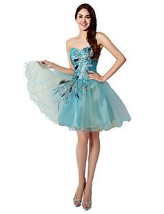 Spotkanie towarzyskie Sukienka Balowa W kształcie serca Krótka / Mini Tiul z Haft