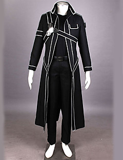 Inspired by Sword Art Online Kirito/Kazuto Kirigaya Anime Cosplay Costume Black Solid/Patchwork Cloak/Pants/Shoulder Armor/Gloves Male/Female