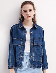 Polyester Normal Langermet,Skjortekrage Denimjakker Ensfarget Sommer Moderne / Nutidig Daglig Dame