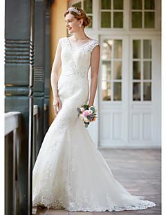 LAN TING BRIDE Sereia Vestido de casamento - Elegante e Luxuoso Renda Floral Cauda Corte Decote V Renda comCom Apliques Miçanga Botão