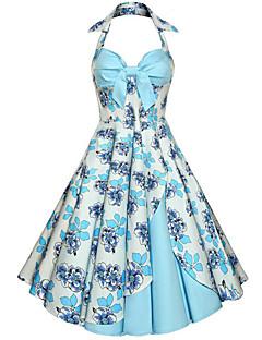 レディース ヴィンテージ お出かけ スウィング ドレス,フラワー ホルター ミディ ノースリーブ コットン 夏 ミッドライズ 伸縮性なし ミディアム