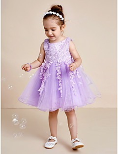 Princess Knee Length Flower Girl Dress - Lace Tulle Jewel with Bow(s) Lace Sash / Ribbon Pleats