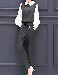 Feminino Camisa Calça Conjuntos Trabalho Moda de Rua Primavera,Sólido Colarinho de Camisa Manga Longa