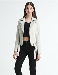 Langærmet Krave Damer Normal Ensfarvet Efterår Vintage Sexet I-byen-tøj Strand Ferie Læderjakker,Andet