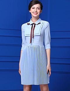 Kadın Günlük/Sade Sade Şifon Elbise Solid,½ Kol Uzunluğu Gömlek Yaka Diz-boyu Şifon Yaz Yüksek Bel Esnemez İnce