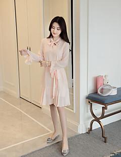 Kadın A Şekilli Elbise Solid,Uzun Kollu Yuvarlak Yaka Diz üstü Polyester Bahar Yaz Normal Bel Mikro-Esnek Orta