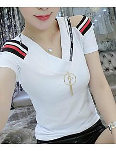 Naiset Lyhythihainen Ohut V kaula-aukko Puuvilla Kesä Yksinkertainen Arkikäyttö Deitti T-paita,Yhtenäinen Raidoitettu