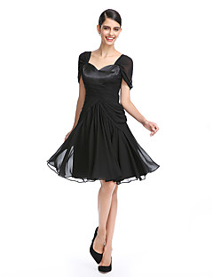 TS Couture Cocktail Party Prom Dress - Little Black Dress A-line Queen Anne Knee-length Chiffon with Criss Cross Ruching