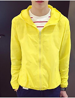 Men's Casual/Daily Simple Summer Jacket,Solid Hooded Long Sleeve Regular Polyester