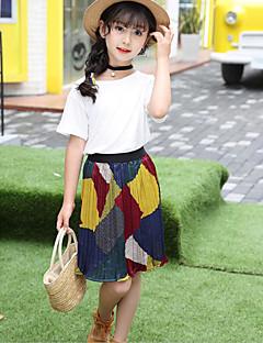 Mädchen Sets Modisch Einheitliche Farbe Patchwork Sommer Kurzarm Kleidungs Set