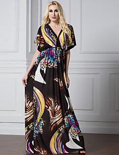 Ample Gaine Balançoire Robe Femme Plage Vacances Grandes Tailles Sexy Vintage Bohème,Géométrique Col en V Maxi Manches Courtes Polyester