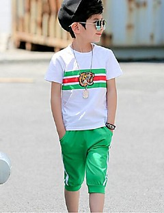 Boys' Sports Color Block Sets,Cotton Polyester Summer Short Sleeve Clothing Set