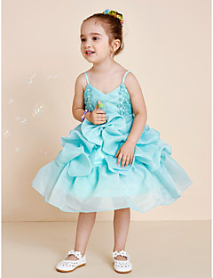 Princess Tea Length Flower Girl Dress - Organza Spaghetti Straps with Applique Beading Bow(s) Sash / Ribbon Pick-Up