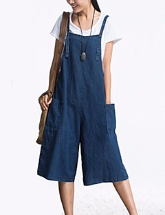 Women's Casual/Daily Jumpsuits,Vintage Straight Solid Color Summer