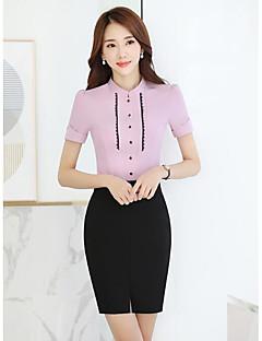 Feminino Terno Saia Conjuntos Trabalho Simples Primavera,Cor Única Colarinho de Camisa Manga Curta