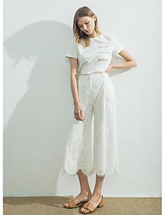Femme simple Taille Normale non élastique Droite Pantalon,Large Couleur Pleine