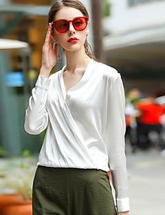 Langærmet V-hals Damer Ensfarvet Sexet Simpel I-byen-tøj Afslappet/Hverdag Bluse,Polyester