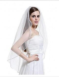 Véus de Noiva Uma Camada Borda Enfeitada