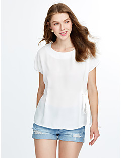 Women's Casual/Daily Street chic / Punk & Gothic Summer Blouse,Solid Round Neck Sleeveless Blue / Pink / White Cotton / Rayon Thin